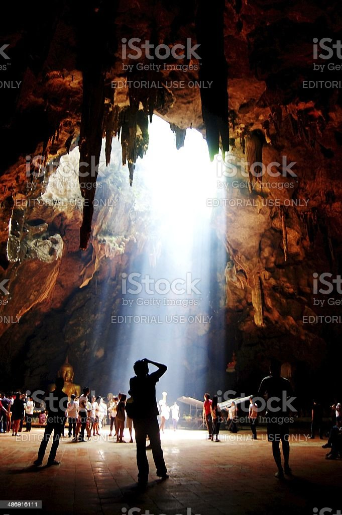 Temple in Khao Luang cave at Phetchaburi, Thailand stock photo