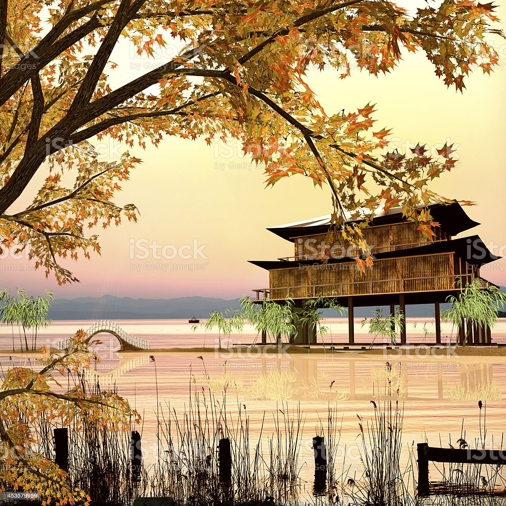temple in Lake with nice sky royalty-free stock photo