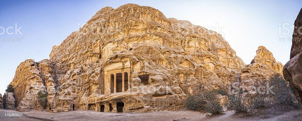 Temple in Siq al-Barid stock photo