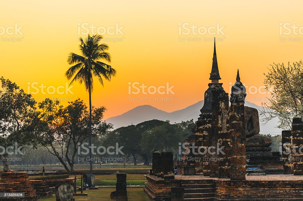 Temple in Sukhothai during sunset, Thailand. stock photo