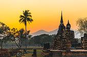 Temple in Sukhothai during sunset, Thailand.