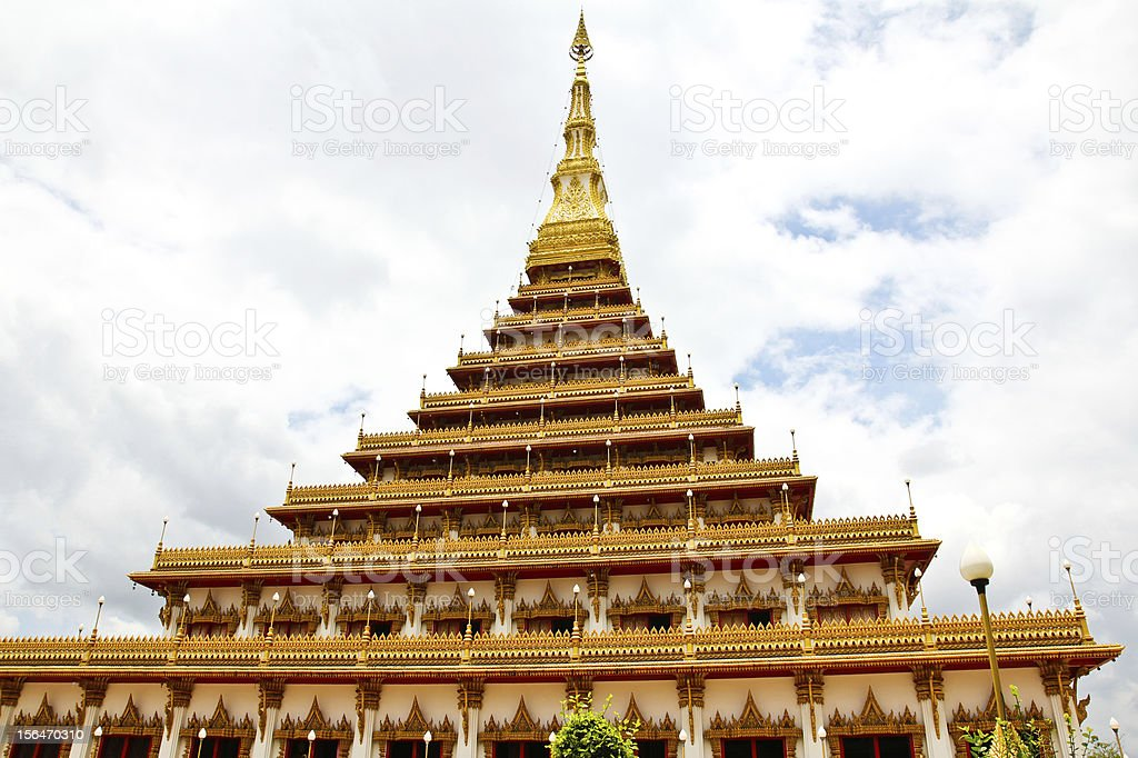 Temple in Thailand is named Phra-Mahathat-Kaen-Nakhon, Khon Kaen royalty-free stock photo