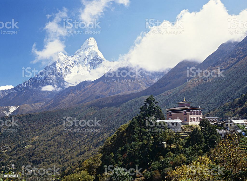 Temple in the Himalayas stock photo