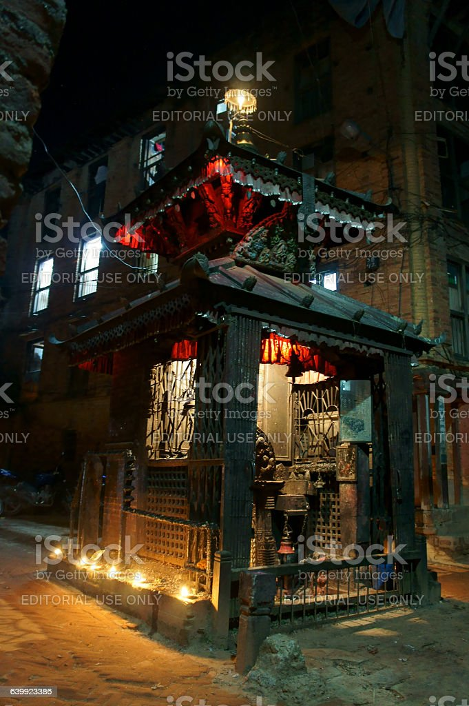 temple in the night in  Dashein festival stock photo