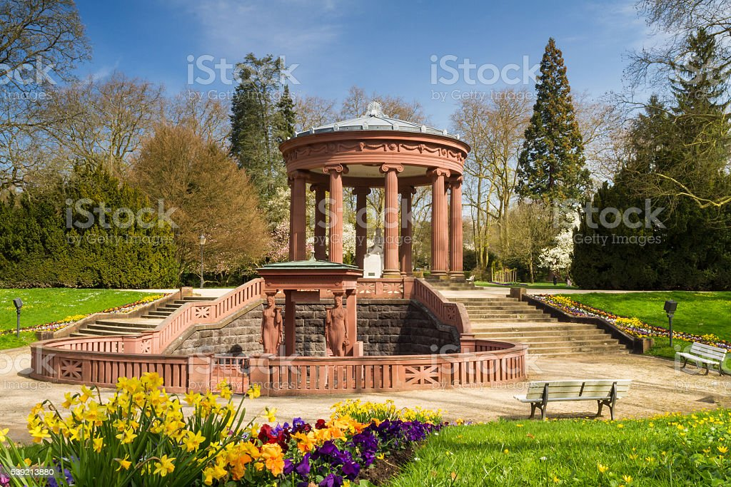 Temple in the park of Bad Homburg in spring stock photo