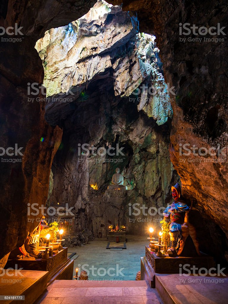 Temple inside a cave in Danang, Vietnam stock photo