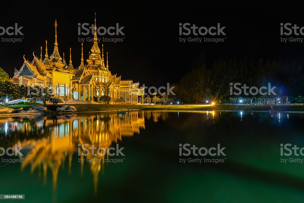 Temple located in NakhonRatchasima Thailand in the night time. stock photo