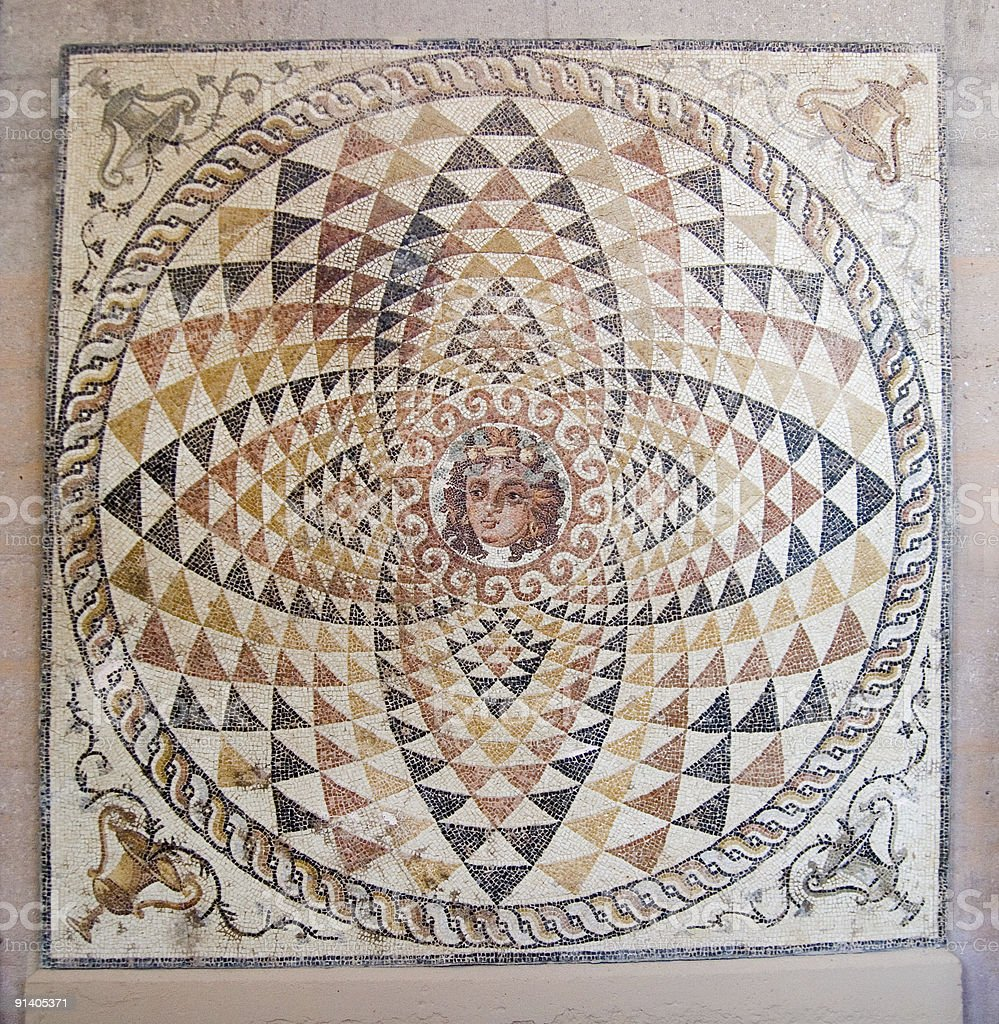 Temple mosaic in Ancient Corinth, Greece stock photo