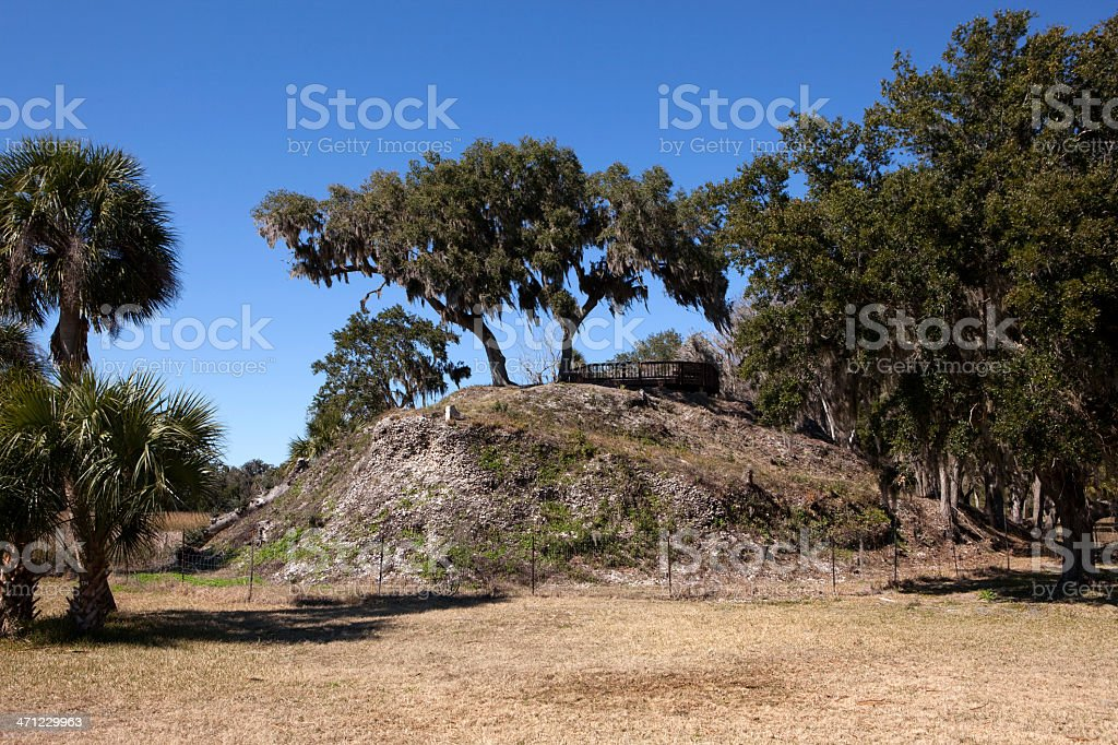 Temple Mound 'A' Crystal River Archaeological State Park, Florida stock photo