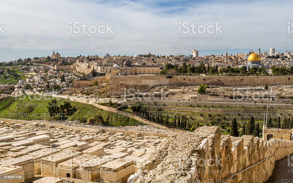 Temple Mount and Jewish Cemetery in Jerusalem stock photo