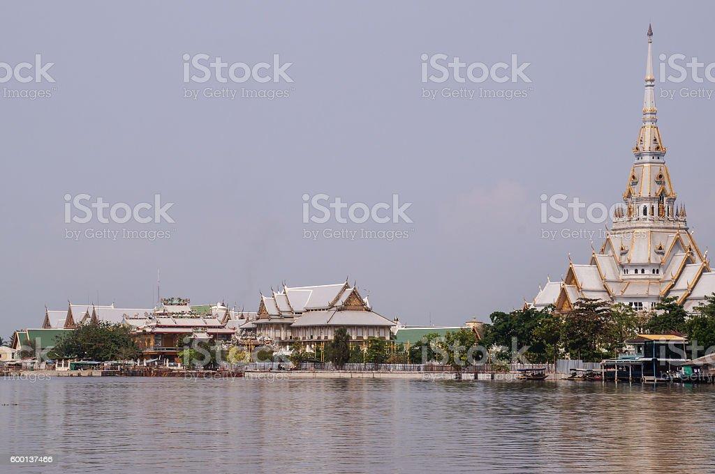Temple neat river stock photo