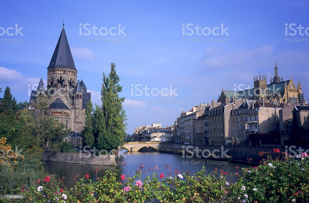 Temple Neuf church and St Etienne cathedral at Metz stock photo