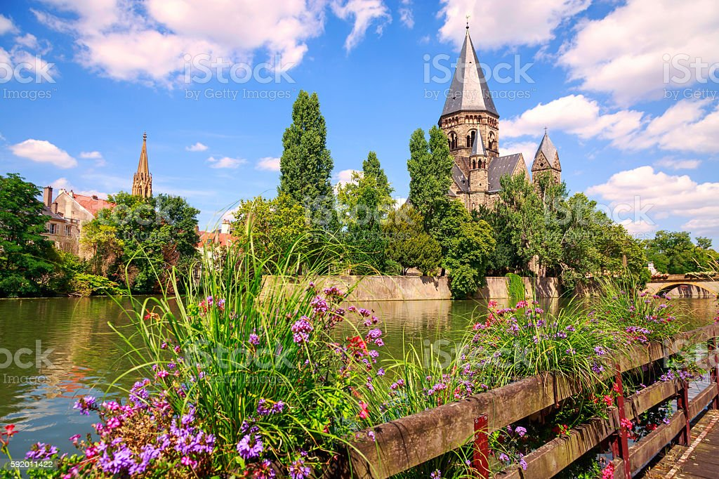 Temple Neuf de Metz and Moselle River stock photo