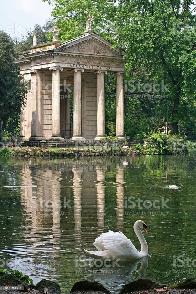 Temple of Aesculapius and Swan in Villa Borghese pond, Rome royalty-free stock photo