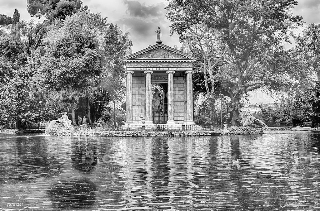 Temple of Aesculapius in Villa Borghese, Rome stock photo