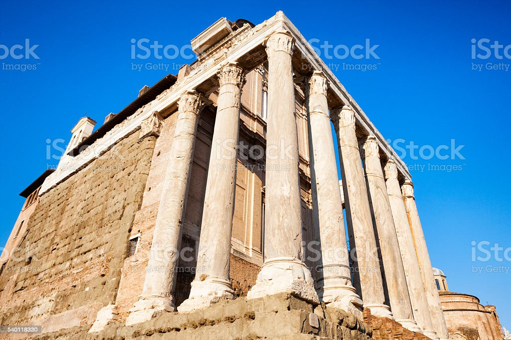 Temple of Antoninus and Faustina at Roman Forum, Rome, Italy stock photo