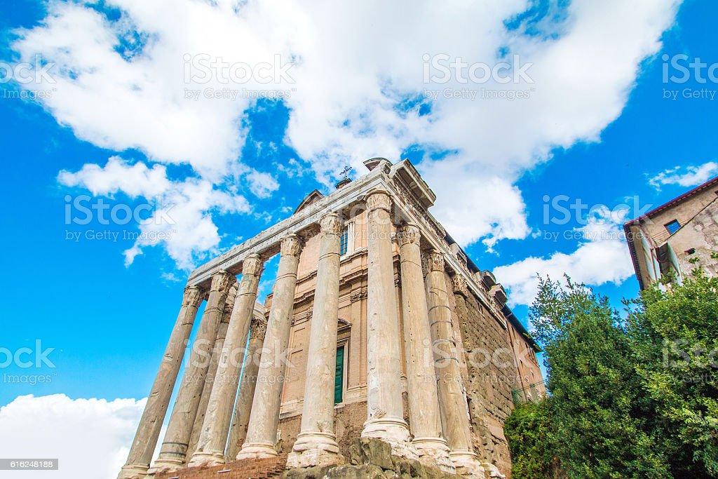 Temple of Antoninus and Faustina, Forum Romanom, Rome, Italy stock photo