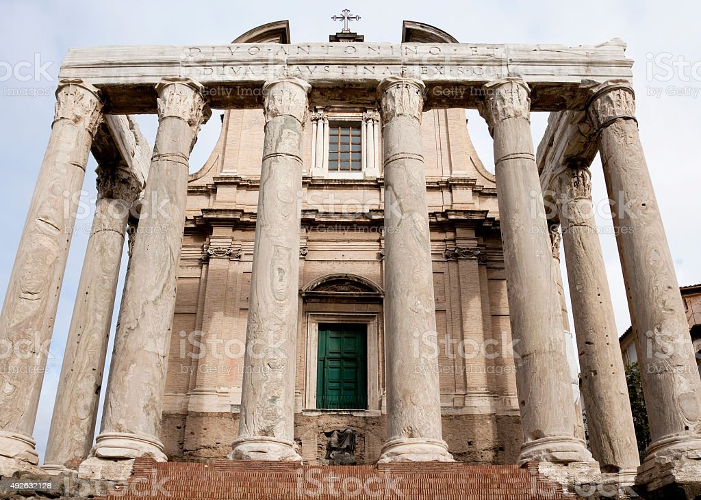 Temple of Antoninus and Faustina in Forum, Rome, Italy stock photo