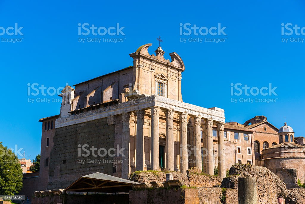 Temple of Antoninus and Faustina in Rome, Italy stock photo