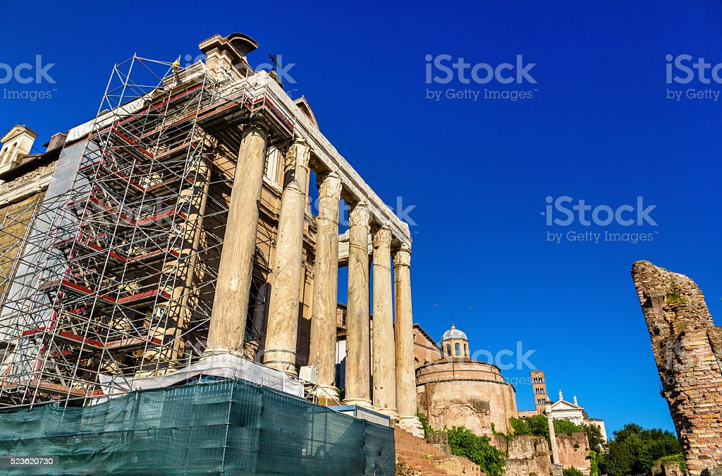 Temple of Antoninus and Faustina in the Roman Forum stock photo