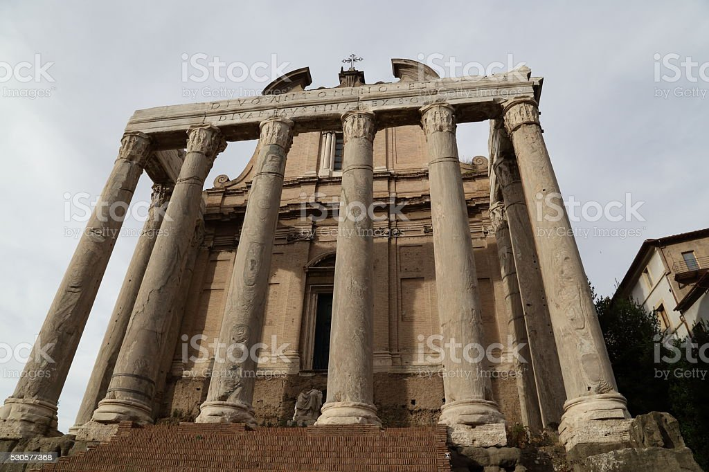 Temple of Antoninus and Faustina stock photo