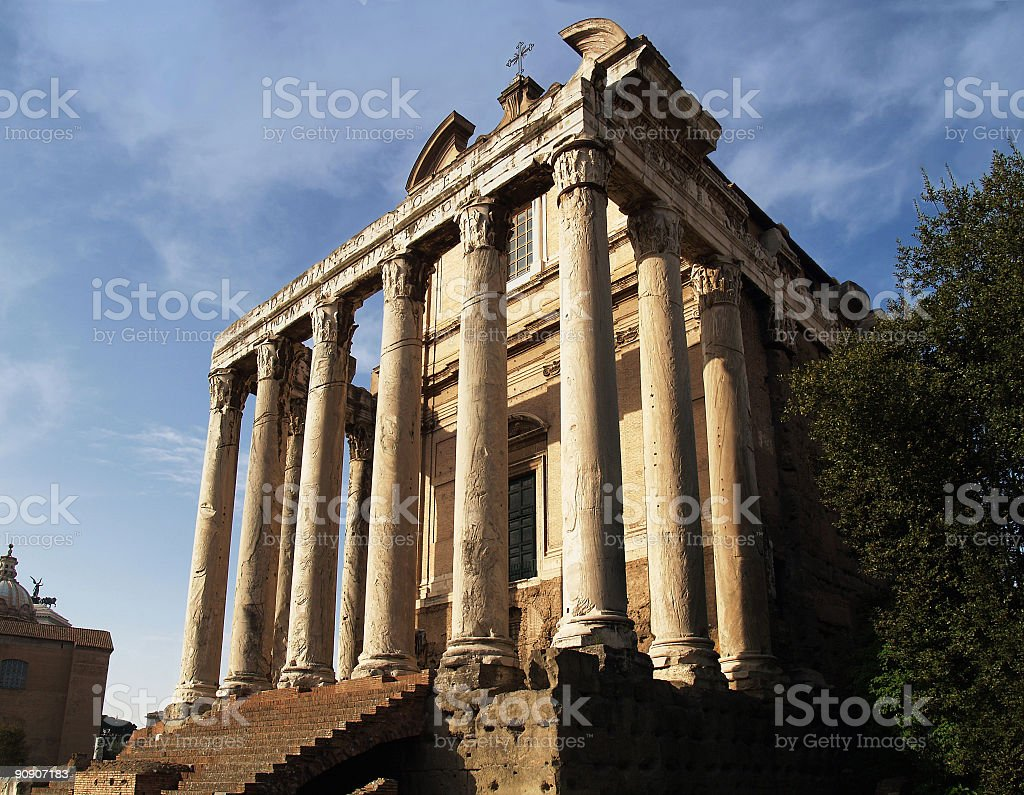 Temple of Antoninus and Faustina royalty-free stock photo