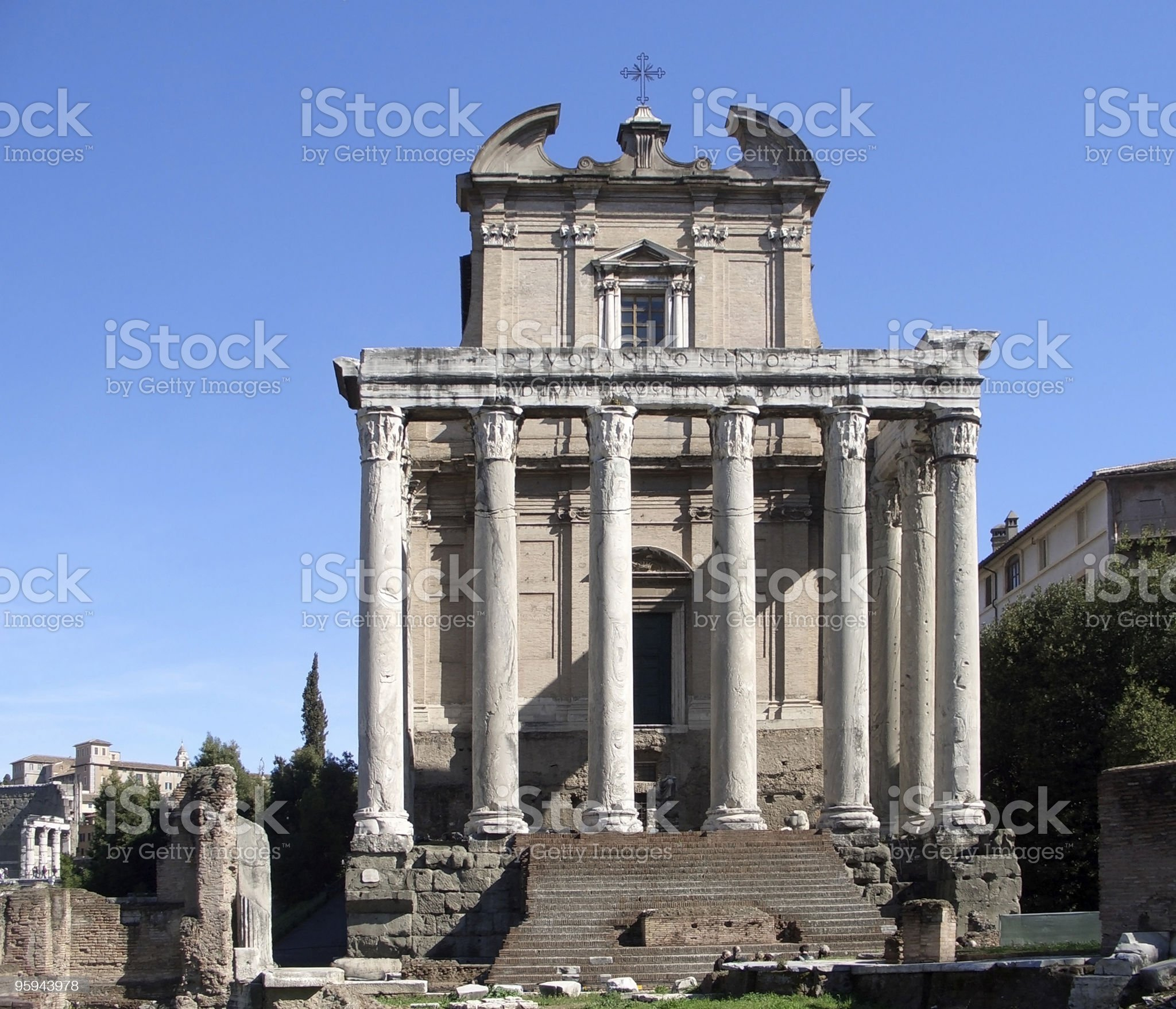 Temple of Antonius Pius and Faustina frontal royalty-free stock photo