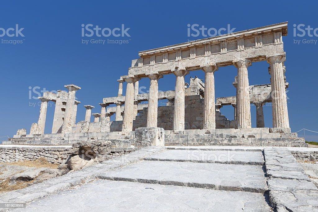 Temple of Aphaea at Aegina island in Greece stock photo