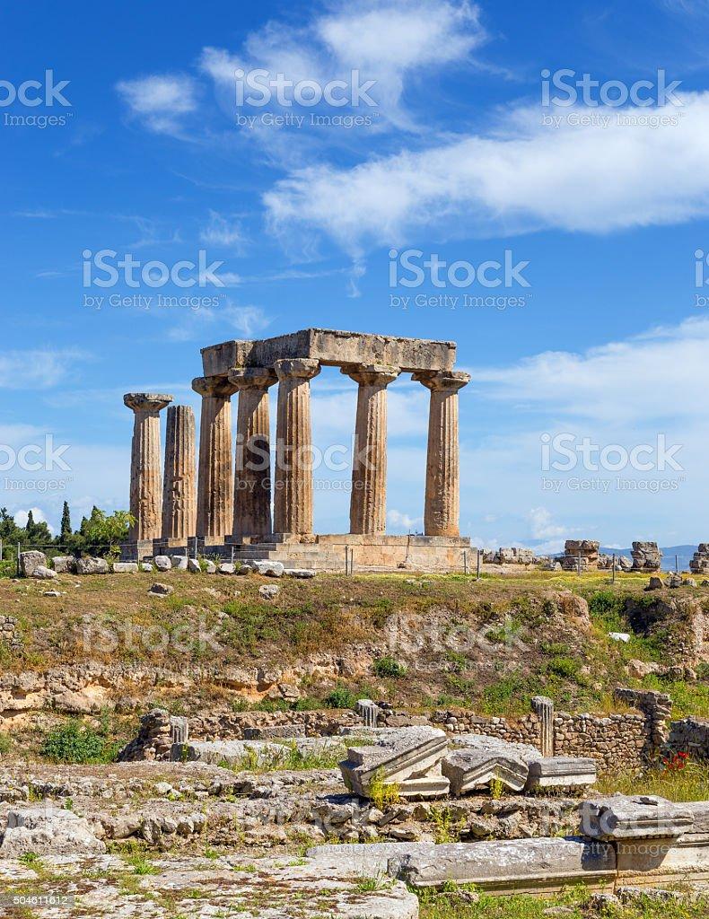 Temple of Apollo, Ancient Corinth, Greece stock photo
