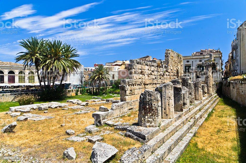 Temple of Apollo, ancient Greek monument in Ortigia, Syracuse, Sicily stock photo