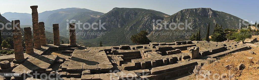 Temple of Apollo at Delphi, Greece stock photo