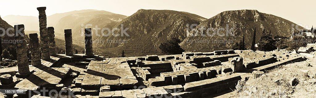 Temple of Apollo at Delphi, Greece. Retro-style photo stock photo