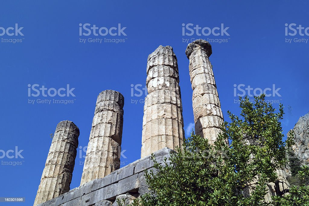 Temple of Apollo at Delphi oracle archaeological site in Greece royalty-free stock photo