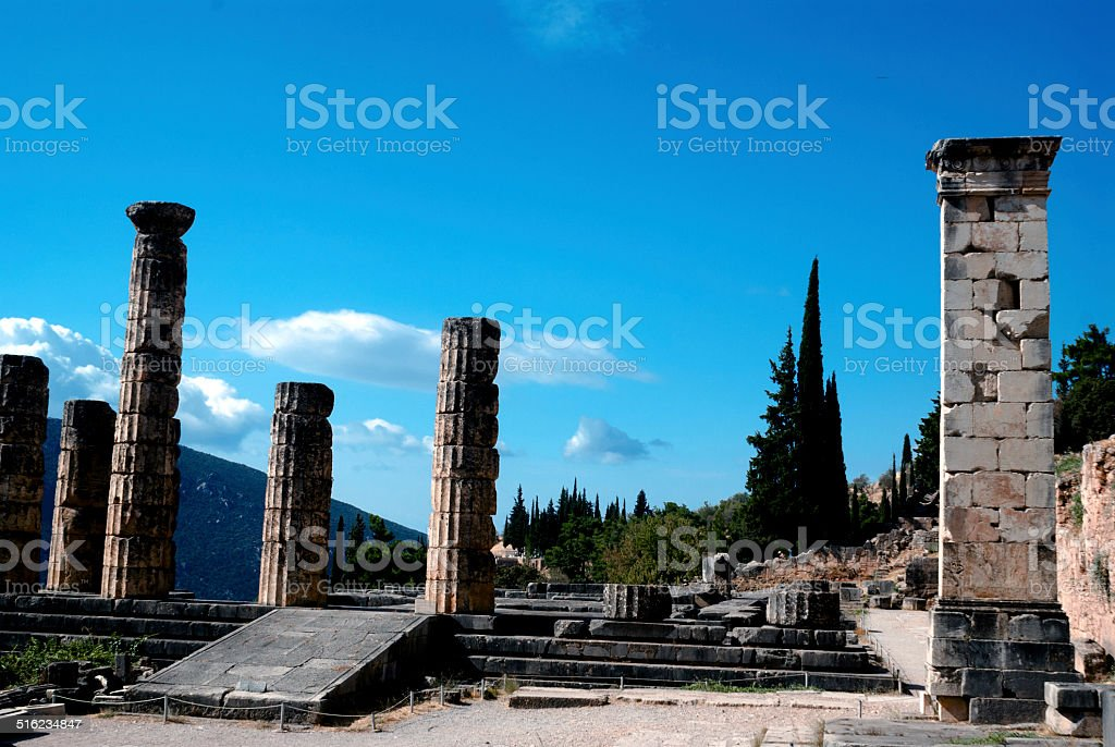 Temple of Apollo at Delphi oracle archaeological site in Greece stock photo