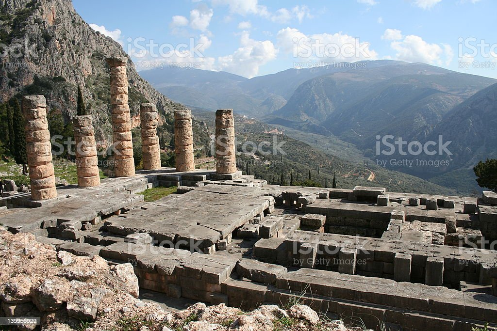 Temple of Apollo at Delphi stock photo