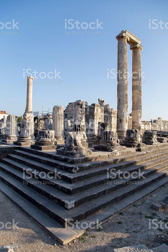 Temple of Apollo columns in Didyma antique city Didim Turkey stock photo
