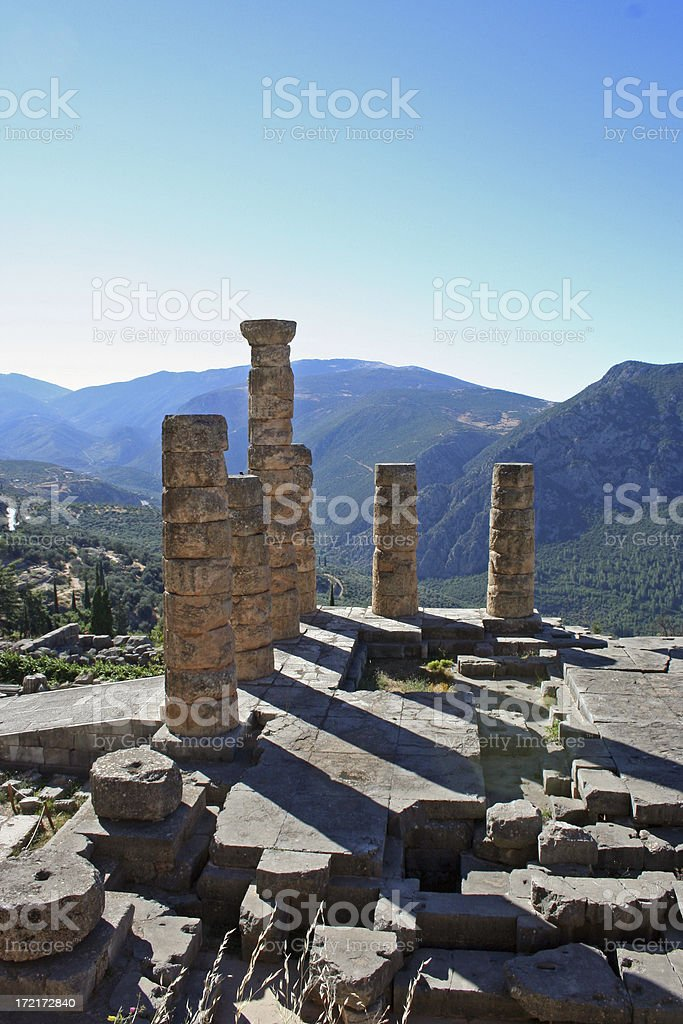 Temple of Apollo, Delfi stock photo