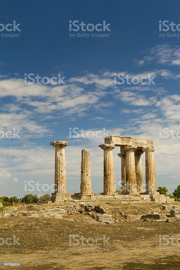Temple of Apollo in Ancient Corinth Greece stock photo
