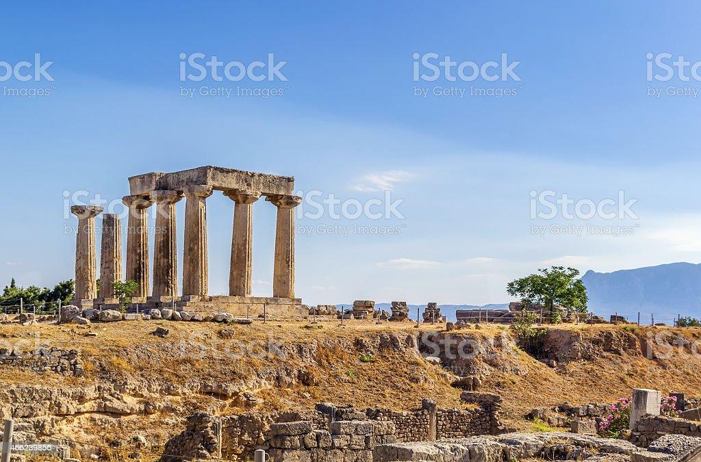 Temple of Apollo in ancient Corinth, Greece stock photo