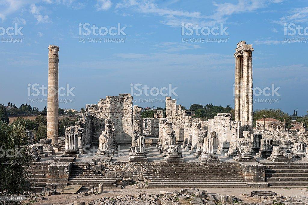 Temple of Apollo in antique city of Didyma stock photo