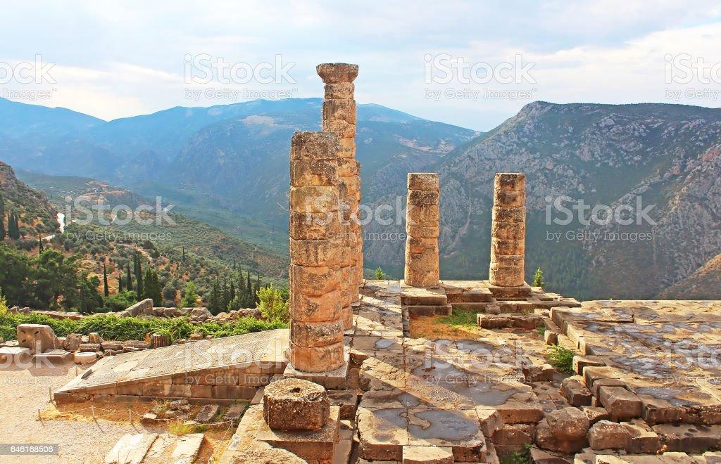Temple of Apollo in Delphi, Greece stock photo