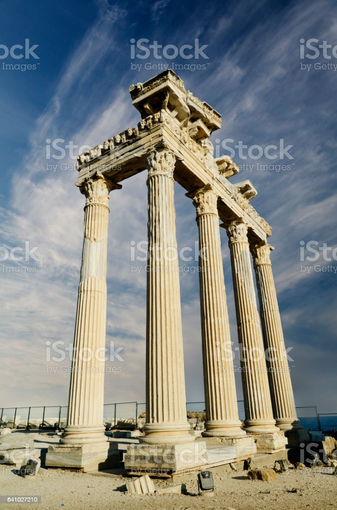 Temple of Apollo in Side stock photo
