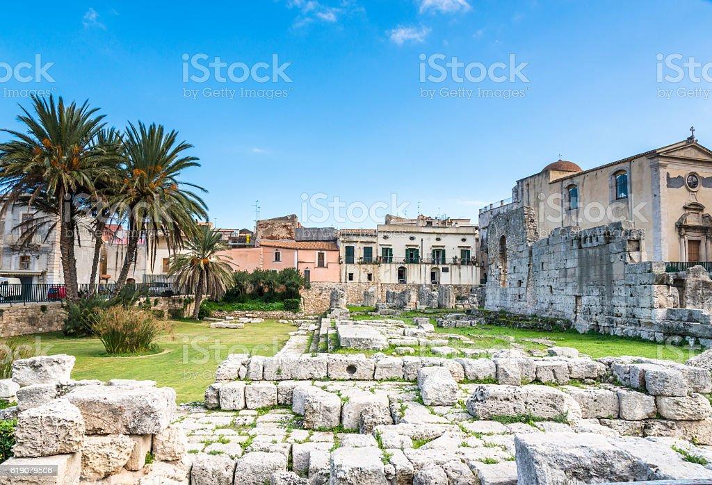 Temple of Apollo on Ortigia, Syracuse, Sicily, Italy stock photo