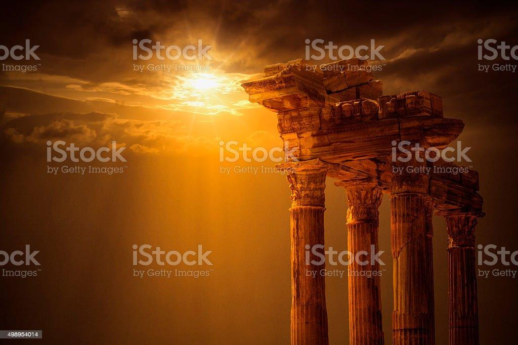 Temple of Apollo on Sunset stock photo