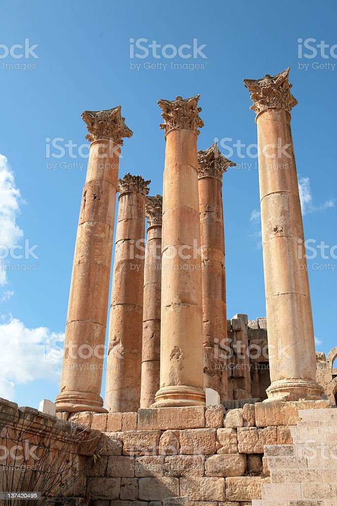 Temple of Artemis, Jerash, Jordan royalty-free stock photo