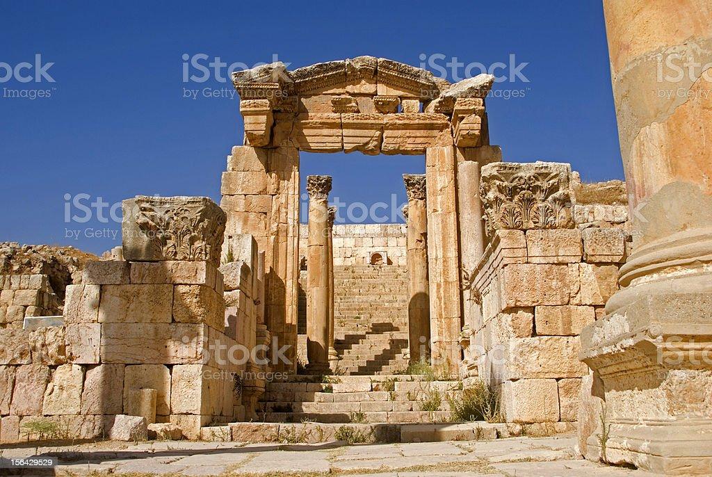 Temple of Artemis, Jerash, Jordan royalty-free stock photo