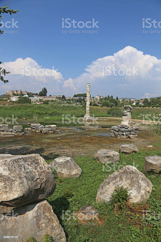 Temple of Artemis Remnants stock photo