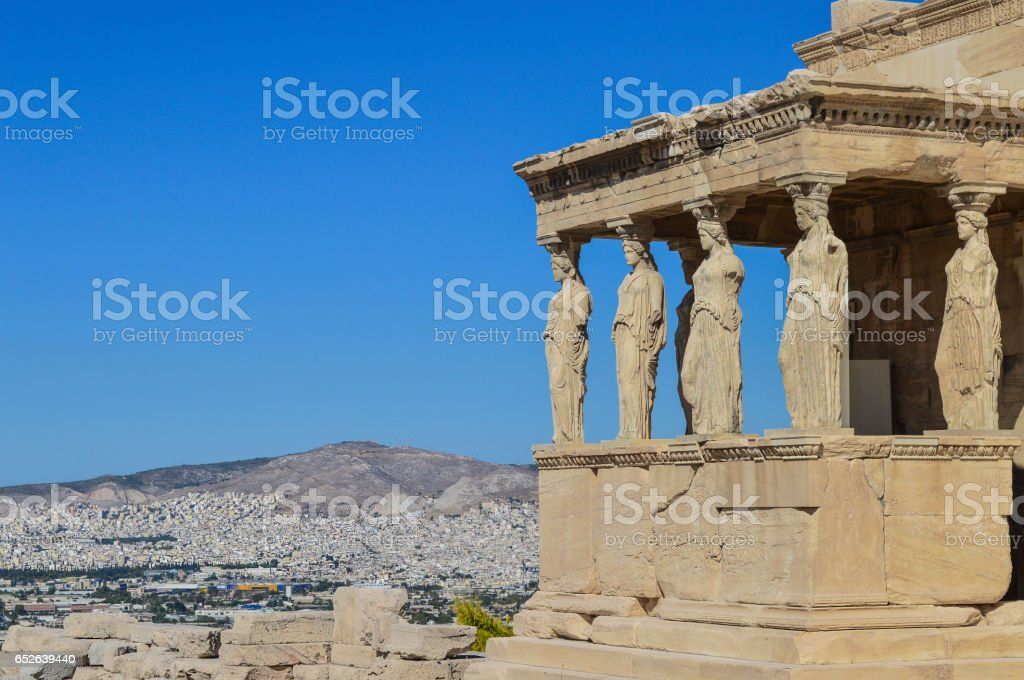 Temple of Athena and blue sky on the hill of the Acropolis of Athens in Greece stock photo