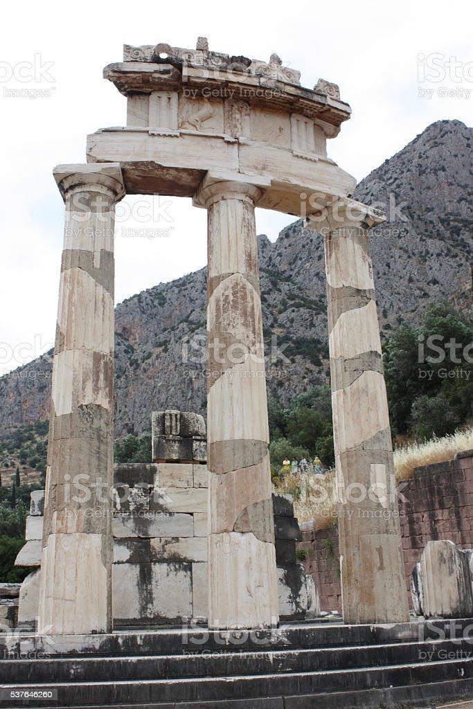 Temple of Athena in Delphi stock photo