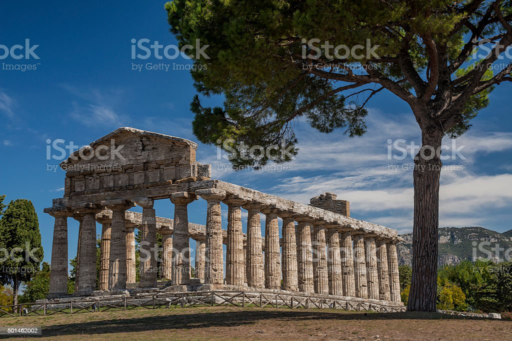 Temple of Athena in Paestum, Italy stock photo